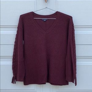 cozy knit burgundy sweater